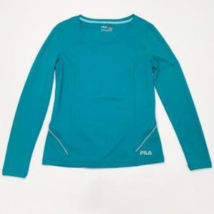 FILA Sport Small Long Sleeve Turquoise Blue Top